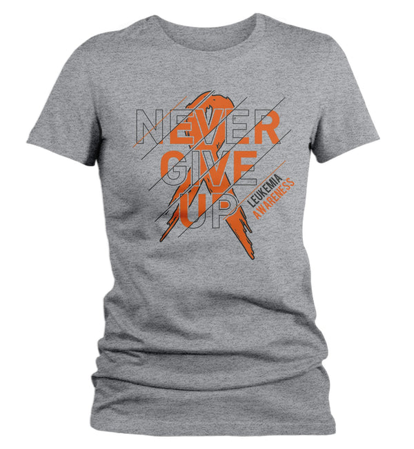 Women's Leukemia T Shirt Never Give Up Leukemia Shirts Orange Ribbon Cancer TShirt Leukemia Shirts Typography-Shirts By Sarah