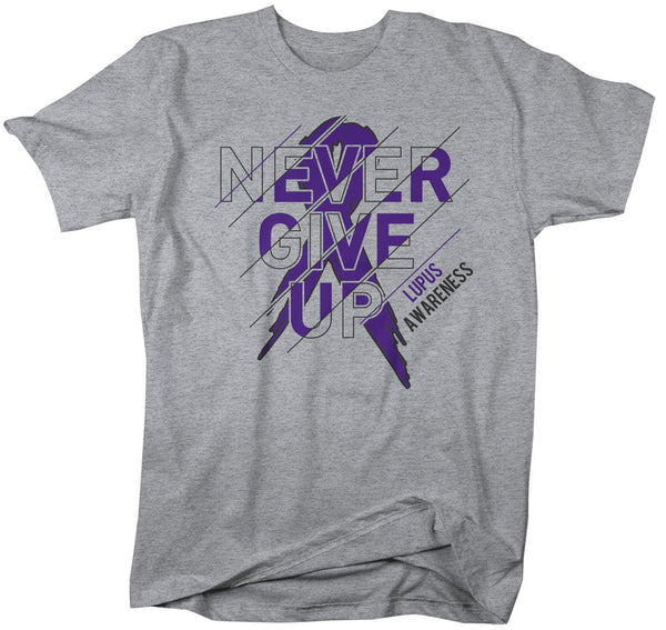 Men's Lupus T Shirt Never Give Up Lupus Shirts Purple Ribbon Lupus Awareness TShirt Typography-Shirts By Sarah