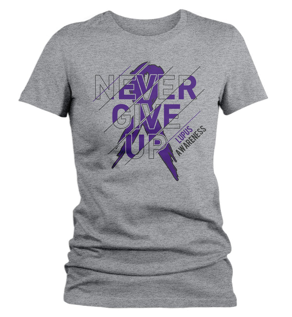 Women's Lupus T Shirt Never Give Up Lupus Shirts Purple Ribbon Lupus Awareness TShirt Typography-Shirts By Sarah