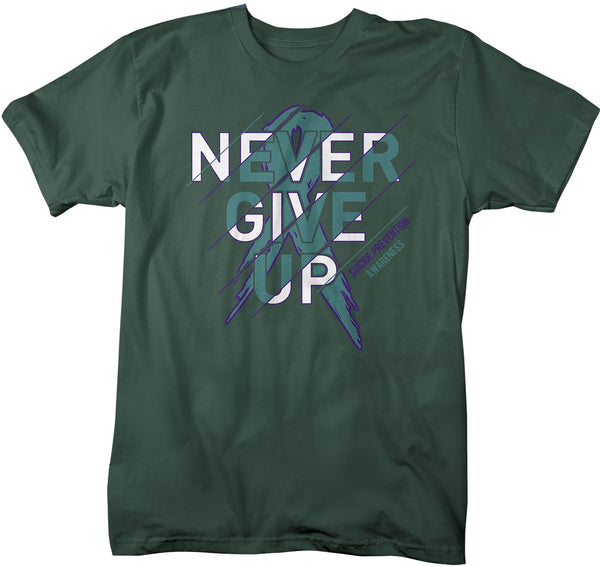Men's Suicide Prevention T Shirt Never Give Up Suicide Shirts Teal Ribbon Suicide TShirt Prevention Shirts Typography-Shirts By Sarah