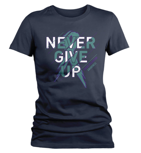 Women's Suicide Prevention T Shirt Never Give Up Suicide Shirts Teal Ribbon Suicide TShirt Prevention Shirts Typography-Shirts By Sarah