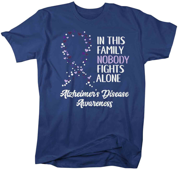 Men's Alzheimer's T Shirt Alzheimer's Nobody Fights Alone Awareness Shirt Alzheimers Shirt Purple Ribbon Shirt-Shirts By Sarah