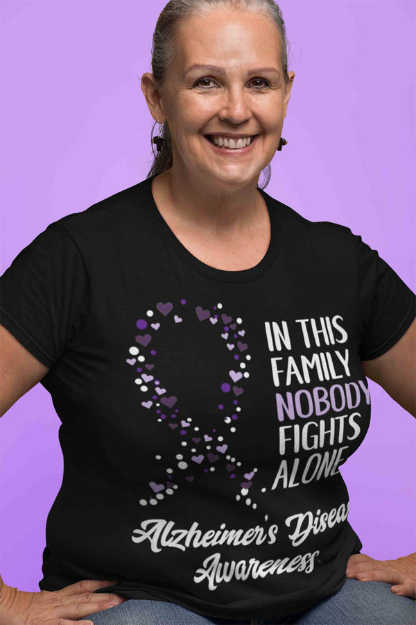 Women's Alzheimer's T Shirt Alzheimer's Nobody Fights Alone Awareness Shirt Alzheimers Shirt Purple Ribbon Shirt-Shirts By Sarah