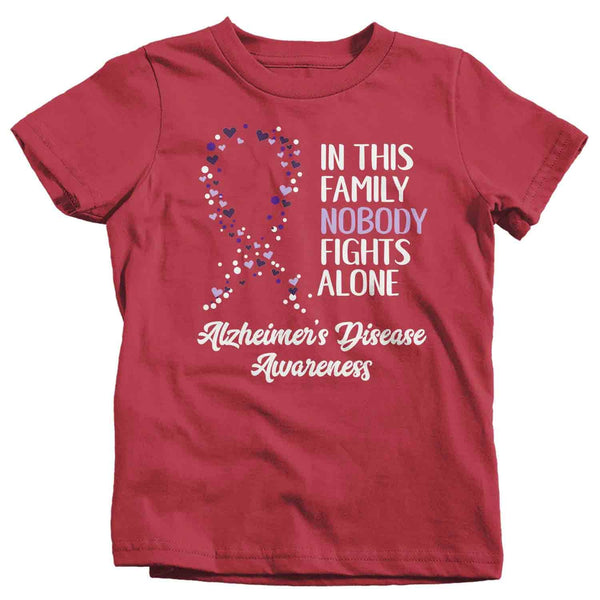 Kids Alzheimer's T Shirt Alzheimer's Nobody Fights Alone Awareness Shirt Alzheimers Shirt Purple Ribbon Shirt-Shirts By Sarah