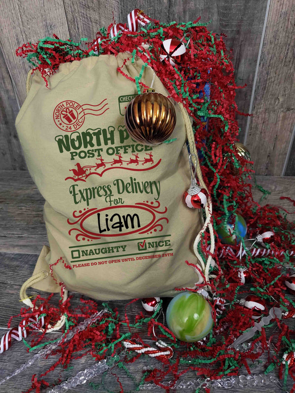 Santa Sack Personalized Christmas Stocking Drawstring Backpack Custom Christmas North Pole Express Checked Twice Santa Sack-Shirts By Sarah