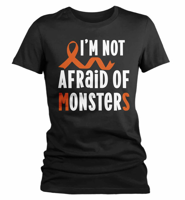 Women's Multiple Sclerosis T Shirt Not Afraid Monsters MS Shirt Orange Ribbon T Shirt Inspirational MS Shirt-Shirts By Sarah