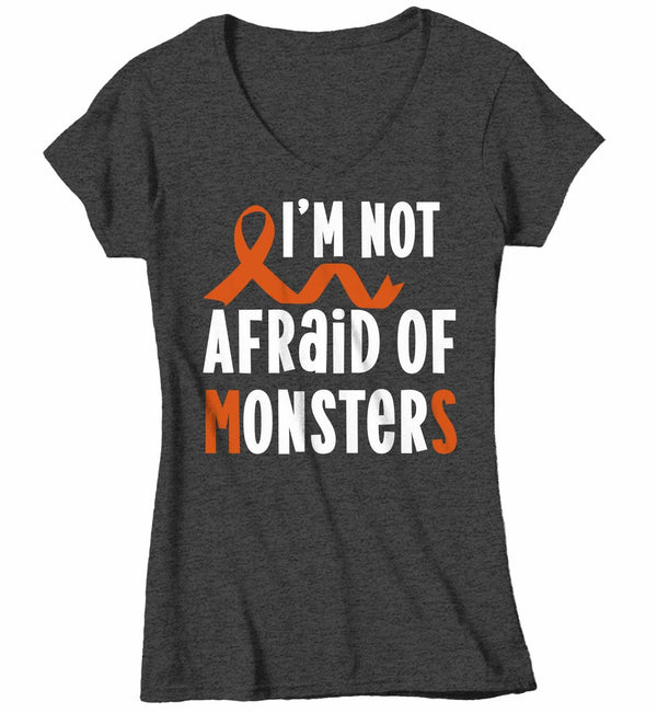 Women's V-Neck Multiple Sclerosis T Shirt Not Afraid Monsters MS Shirt Orange Ribbon T Shirt Inspirational MS Shirt-Shirts By Sarah