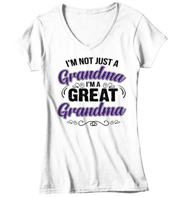 Women's V-Neck Great Grandma T Shirt Not Just Grandma Great Grandma Shirt Cute Grandma Shirt Grandma Gift-Shirts By Sarah