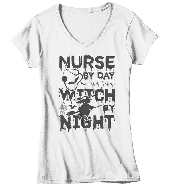Women's Funny Nurse Halloween T Shirt Nurse Halloween Shirts Nurse Day Witch Night Shirts Witches Shirt-Shirts By Sarah