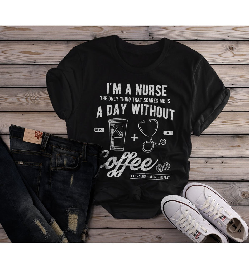 87aacd4ac9 Women's Nurse T Shirt Funny Coffee Shirt Day Without Nurse Gift Idea Nurses  Graphic Tee-