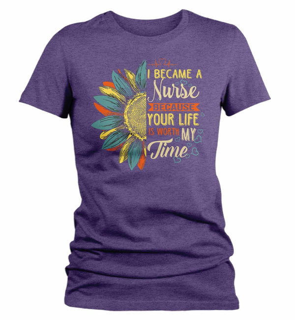 Women's Cute Nurse T Shirt Sunflower Shirt Your Life Is Worth My Time Vintage Shirt Tee Nurse Gift Idea-Shirts By Sarah