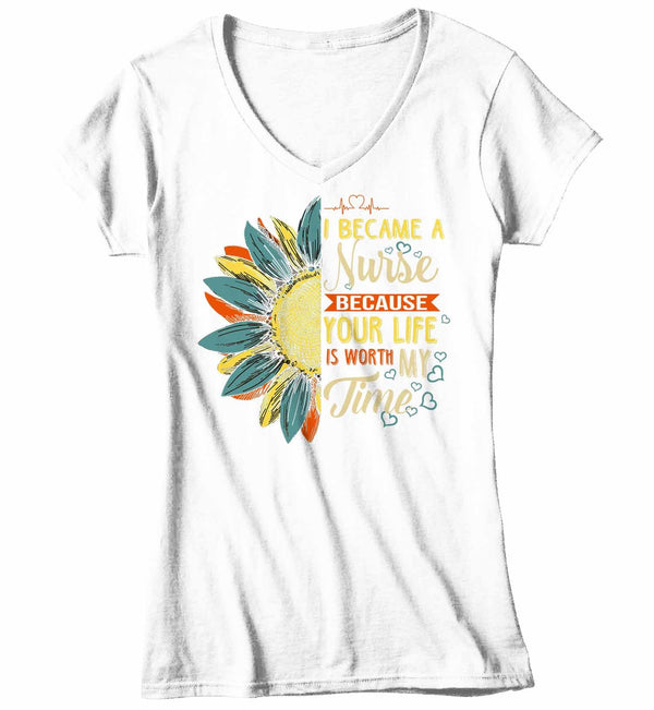 Women's V-Neck Cute Nurse T Shirt Sunflower Shirt Your Life Is Worth My Time Vintage Shirt Tee Nurse Gift Idea-Shirts By Sarah