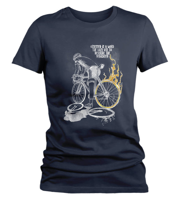 Women's Funny Cyclist T-Shirt Obsessed Biker Shirt Cyclists Shirts Bicycle Racing Tshirt Bicyclist Shirt Cycling T Shirt-Shirts By Sarah