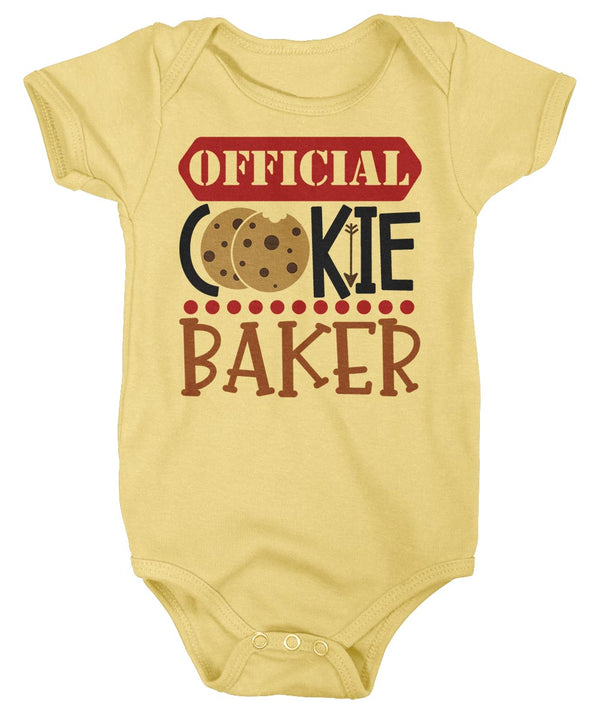 Baby Christmas Bodysuit Christmas Official Cookie Baker Matching Xmas Snap Suit Cute Graphic Tee Baking Creeper Boys Girls-Shirts By Sarah