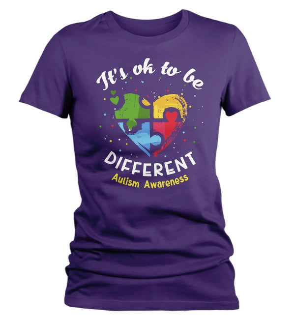 Women's Autism T Shirt Ok To Be Different Autism Shirt Heart Autism Cute Autism Awareness Shirt-Shirts By Sarah