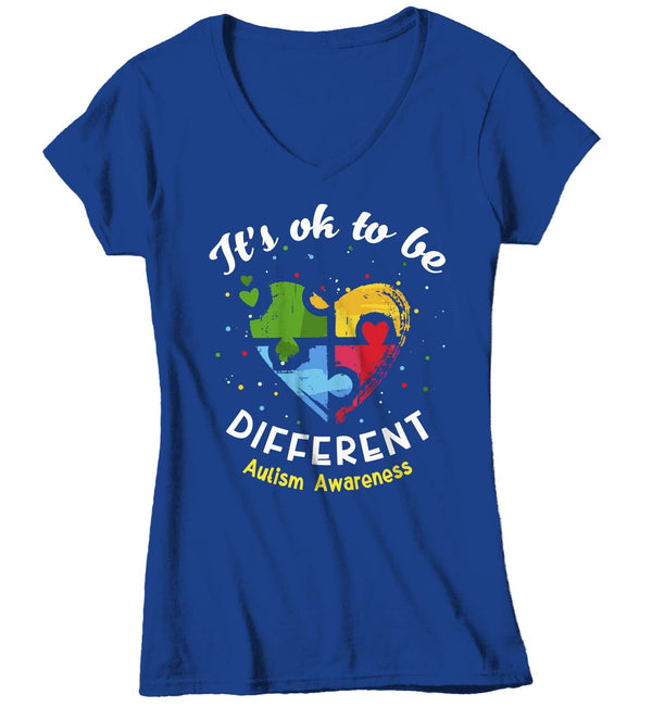 Women's V-Neck Autism T Shirt Ok To Be Different Autism Shirt Heart Autism Cute Autism Awareness Shirt-Shirts By Sarah