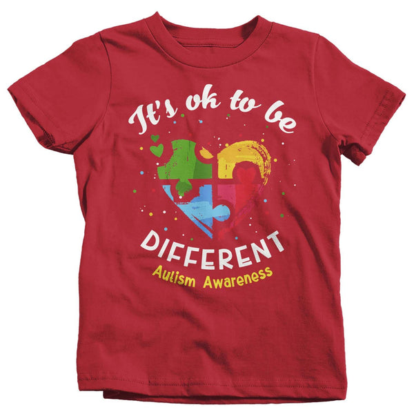 Kids Autism T Shirt Ok To Be Different Autism Shirt Heart Autism Cute Autism Awareness Shirt-Shirts By Sarah