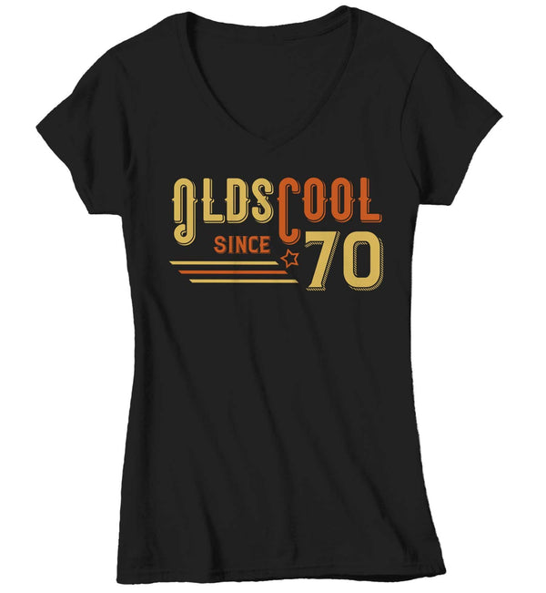 Women's V-Neck Vintage T Shirt 1970 Birthday Shirt Olds Cool 50th Birthday Tee Retro Gift Idea Vintage Tee Oldscool Shirts-Shirts By Sarah