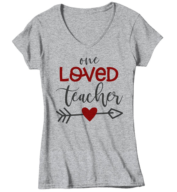 Women's Loved Teacher T Shirt Teacher T Shirts Arrow Valentine's Day Shirts Gift For Teacher Heart Tee TShirt-Shirts By Sarah