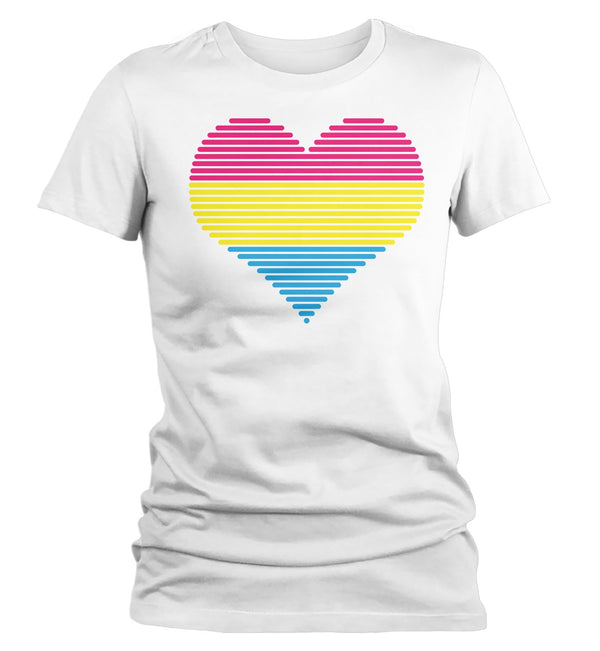 Women's LGBT T Shirt Pansexual Pride Shirts Heart Pansexual T Shirt Heart Shirts Pansexual Pride T Shirts-Shirts By Sarah
