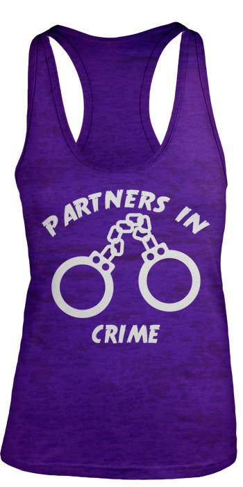 Shirts By Sarah Women's Partners In Crime Handcuffs Burnout Best Friend Tank Top-Shirts By Sarah
