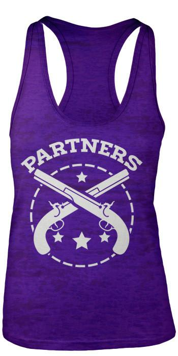 Shirts By Sarah Women's Partners In Crime Gun Burnout Best Friend Tank Tops (Partners)-Shirts By Sarah