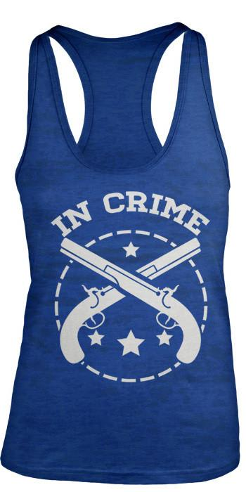 Shirts By Sarah Women's Partners In Crime Gun Burnout Best Friend Tank Tops (In Crime)-Shirts By Sarah