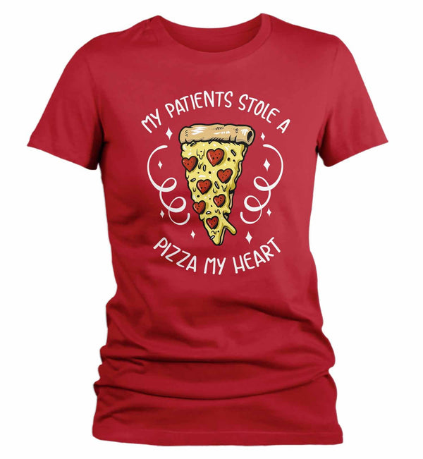 Women's Nurse T Shirt Valentine's Day Nurse Shirts Patients Stole Pizza My Heart Valentines TShirt Cute LPN RN Tee-Shirts By Sarah