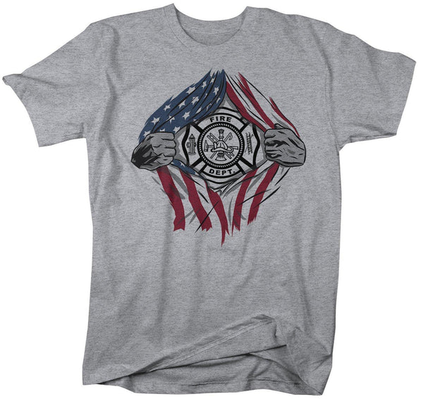 Men's Firefighter T Shirt Superhero Shirt Fireman Shirts Fire Dept. T-Shirt American Flag Shirt Patriotic Shirts-Shirts By Sarah