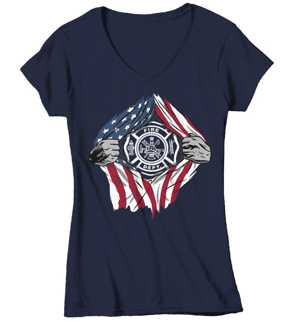 Women's Firefighter T Shirt Superhero Shirt Fireman Shirts Fire Dept. T-Shirt American Flag Shirt Patriotic Shirts-Shirts By Sarah