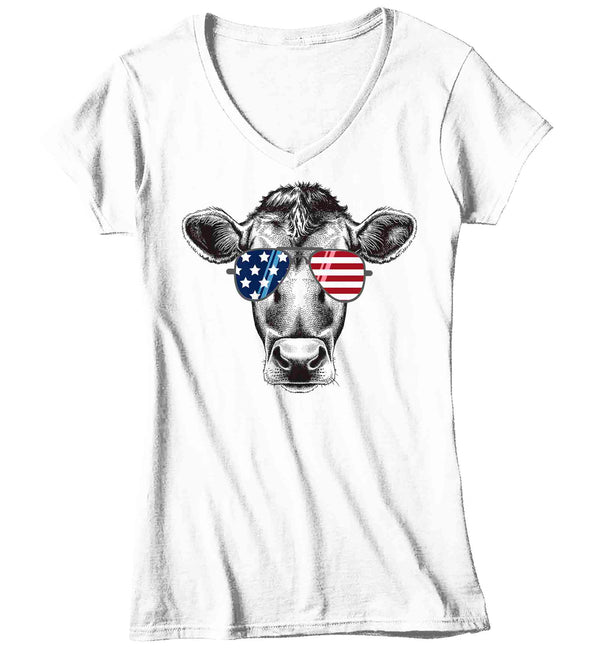 Women's V-Neck Patriotic Shirt Cow Shirt Heifer TShirt Merica Glasses Flag 4th July Shirt Funny Patriot Farmer Farm Ladies V-Neck-Shirts By Sarah