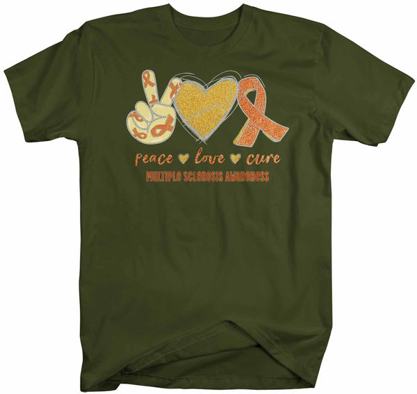Men's Multiple Sclerosis T Shirt Peace Love Cure MS Shirt Orange Ribbon T Shirt Inspirational MS Shirt-Shirts By Sarah