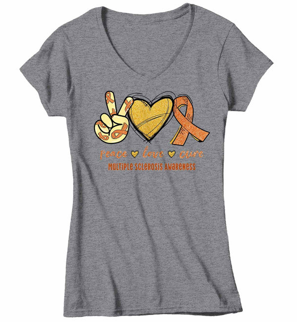 Women's V-Neck Multiple Sclerosis T Shirt Peace Love Cure MS Shirt Orange Ribbon T Shirt Inspirational MS Shirt-Shirts By Sarah