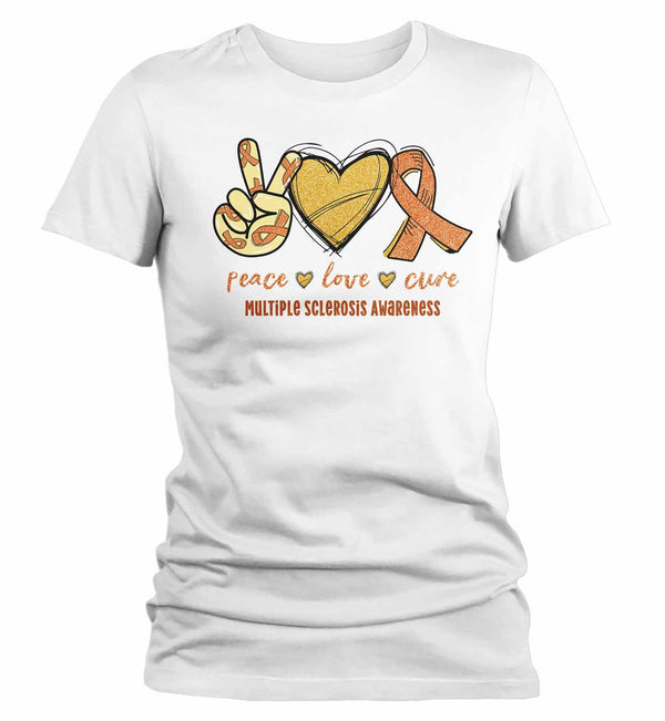 Women's Multiple Sclerosis T Shirt Peace Love Cure MS Shirt Orange Ribbon T Shirt Inspirational MS Shirt-Shirts By Sarah