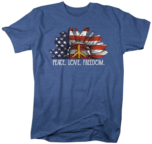 Men's American Flag Sunflower T Shirt Peace Love Freedom Shirt Hippie Shirt Boho Shirt Patriot Shirt-Shirts By Sarah