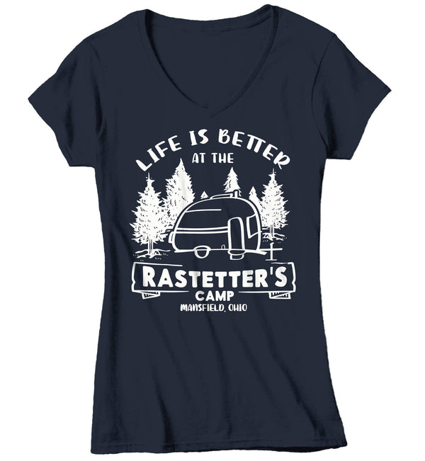 Women's V-Neck Personalized Camper T Shirt Life Is Better At Camp Shirts Custom Camping Shirt RV T Shirts Pull Behind Camper Ladies VNeck-Shirts By Sarah