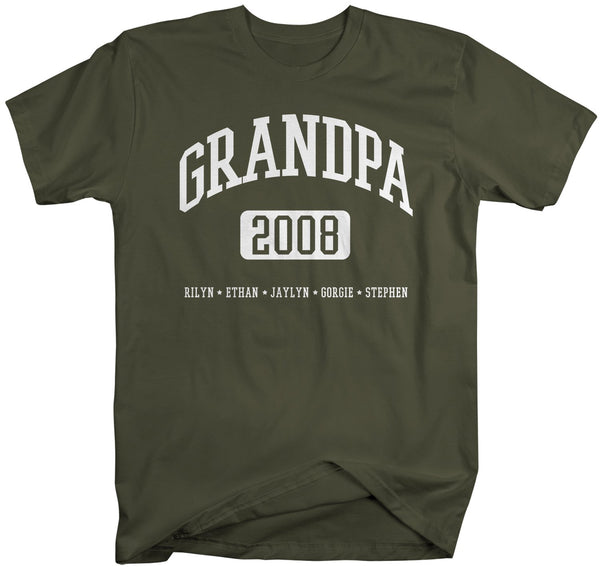 Personalized Grandpa Shirt Grandpa T-Shirt Kids Names Est T Shirts Papa Names Athletic Shirt Custom Father's Day Gift-Shirts By Sarah
