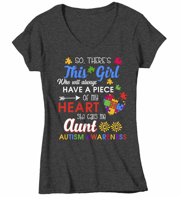 Women's V-Neck Personalized Autism T Shirt This Girl Calls Me Shirts Custom Shirts Piece Of Heart Autism Shirt Custom Autism Shirt-Shirts By Sarah