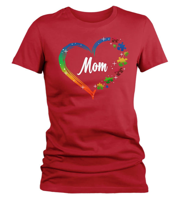 Women's Personalized Autism T Shirt Heart Autism Shirts Custom Shirts Grandma Mom Shirt Aunt Custom Tee-Shirts By Sarah
