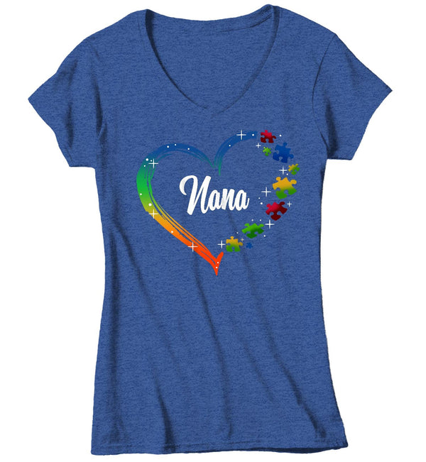 Women's V-Neck Personalized Autism T Shirt Heart Autism Shirts Custom Shirts Grandma Mom Shirt Aunt Custom Tee-Shirts By Sarah
