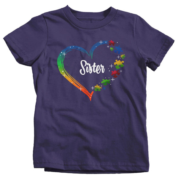 Kids Personalized Autism T Shirt Heart Autism Shirts Custom Shirts Sister Brother Shirt Cousin Custom Tee-Shirts By Sarah