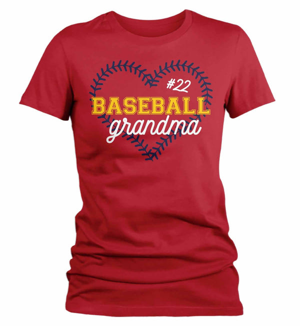 Women's Personalized Baseball T Shirt Personalized Baseball Shirt Custom Baseball Heart Shirt Baseball Grandma Mom Shirt-Shirts By Sarah