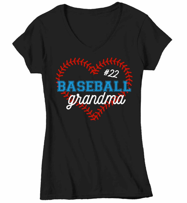 Women'sV-Neck Personalized Baseball T Shirt Personalized Baseball Shirt Custom Baseball Heart Shirt Baseball Grandma Mom Shirt-Shirts By Sarah