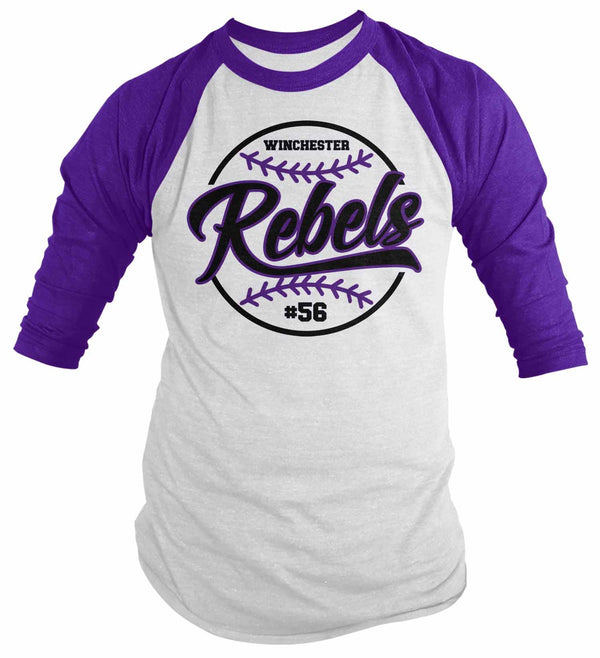 Men's Personalized Baseball Shirt Custom Vintage Raglan Softball Shirt Personalized Softball Shirt Vintage 3/4 Sleeve Baseball-Shirts By Sarah