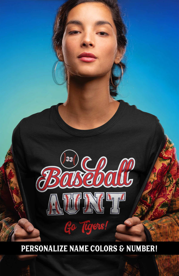 Women's Personalized Baseball T Shirt Custom Baseball Shirts Baseball Mom T Shirt Personalized Baseball Grandma Shirts-Shirts By Sarah