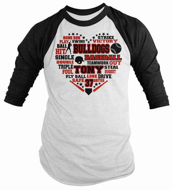 Men's Personalized Baseball Raglan Shirt Subway Art Shirt Baseball Subway Art Baseball Typography Custom 3/4 Sleeve-Shirts By Sarah
