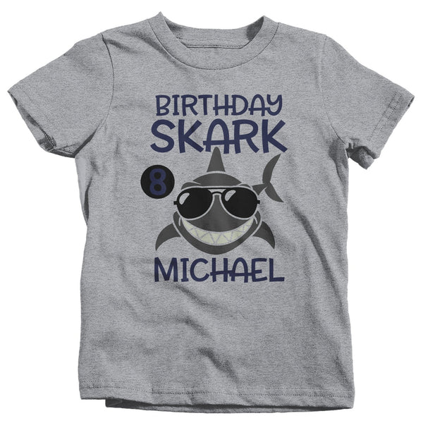 Boy's Personalized Birthday Shirt Birthday Shark Shirts Boy's Name Number T Shirt Custom Shirts-Shirts By Sarah