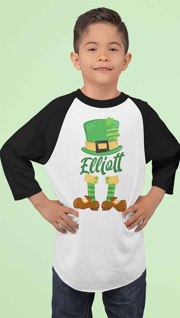 Boy's Personalized Leprechaun Shirt 3/4 Sleeve Raglan St. Patrick's Day Custom Shirts Toddler Shirt-Shirts By Sarah