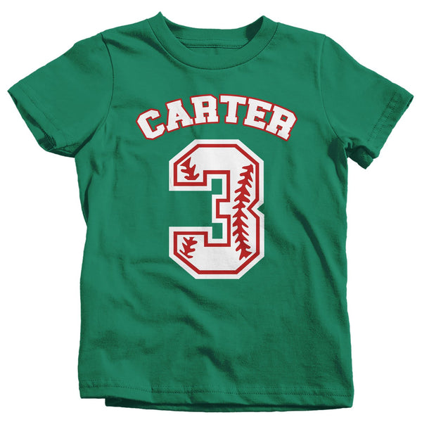 Boy's Personalized Birthday Shirt Baseball Birthday Shirts Boy's Name Number T Shirt Custom Shirts-Shirts By Sarah