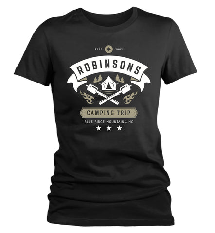 Women's Personalized Camping Shirts Camper T-Shirt Camping Shirt Custom Hipster Tee Tent Marshmallow Vintage-Shirts By Sarah